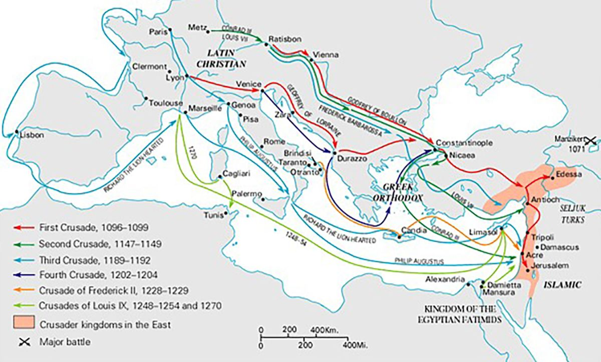 Map Of The Crusades Timeline of Major Events of the Crusades   The Sultan and The Saint